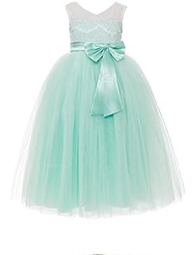 YiYaDawn Langes Blumenmädchenkleid Ballkleid Festkleid mit Schleife für Mädchen