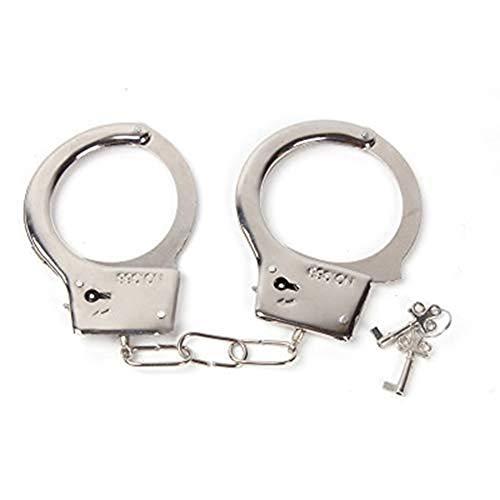 Belingeya Metall-Handschellen, Polizei-Metall-Handschellen mit Pfeifen, Polizeikostüm für Kinder und Jungen, Party-Geschenke, Kostüm-Requisiten, Legierung