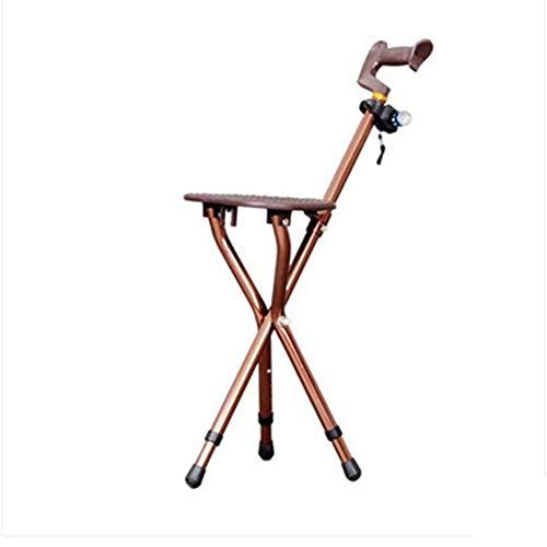 Cane Hocker Chair Folding Walker für ältere Personen mit Triangle Walking Cane Hocker Chair Rutschfester Spazierstock Alter Mann Crucible (Farbe : Braun, Größe : -) - Spazierstock, Kind Größe