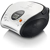 Lenco SCD-24 White & Black | Portable Stereo FM Radio with Top Loading CD Player with AC/DC Operation, 3.5mm Headphone Jack, Telescopic Antenna and Integrated Ergonomical Handle - White & Black CD Player