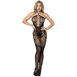 Wolfleague Lingerie Femme Sexy Erotique Ouvert Grande Taille Pas Cher Noir Bas BrodéS TêTe De Cou Ouverte Bas Lime Combinaison Perspective Body Stockings Entrejambe Ouvert