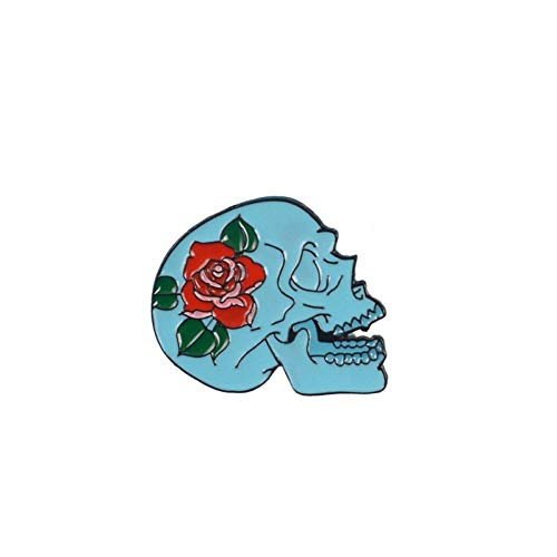 JTXZD Brosche Gothic Skeleton Emaille Pin Rose Skull Kaffeekanne Pizza Abzeichen Brosche Anstecknadel Denim Jeans Hemdtasche Cool für Freund