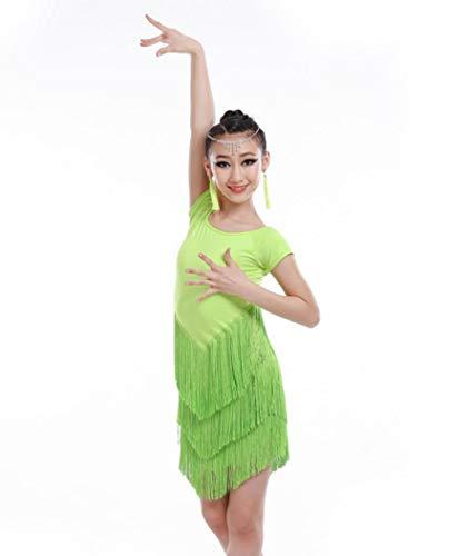 Kostüm Kinder Dance Latin - Kind Latin Dance KostüMe Salsa Dance Kleider Quaste Latin Dance Kleid TanzkostüMwettbewerb,Green,140CM