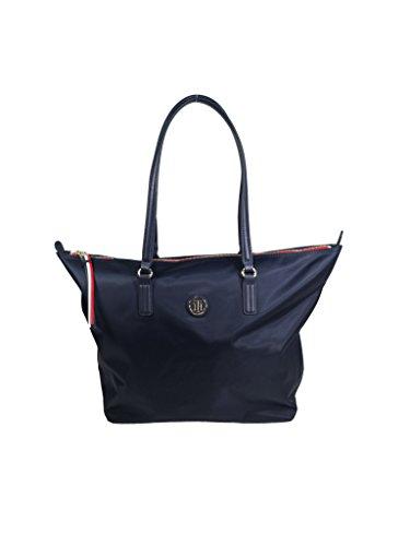 Tommy Hilfiger Damen Poppy Tote Stofftasche, Blau Navy, 14x32x47 cm