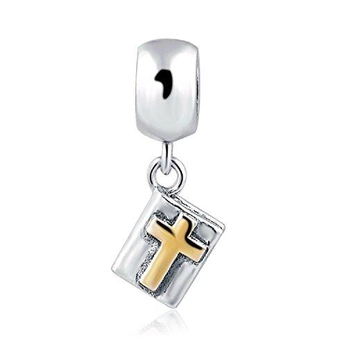 featherwish 925Sterling Silber Gold Kreuz Bibel Buch Charm für Pandora Armband (Floating-charme-armband)