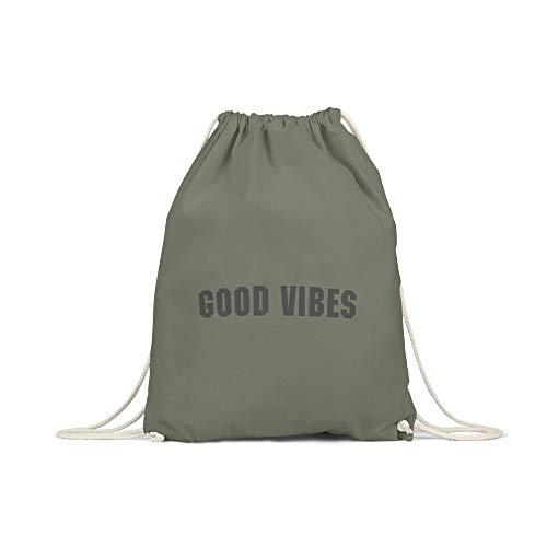 licaso Bolsa de Deporte Estampada en Colores Gym Bag con Robusto Cordel Bolsa impresión ecológica & sostenible Bolsa de Transporte 100% algodón, Color Good Vibes, tamaño Olivgruen