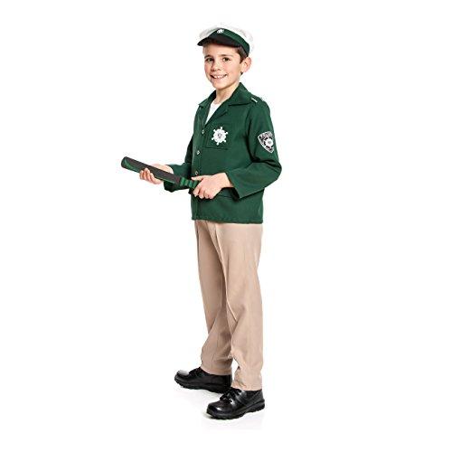 Kostümplanet Polizei-Kostüm Kinder Jungen + Polizei-Mütze Kinderkostüm Polizist Wie früher Klassisch Deutsch grün Beige Braun Größe - Deutschen Kinder Kostüm