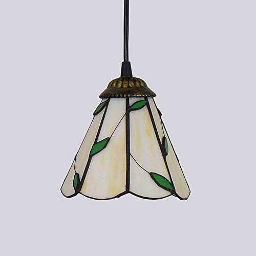 Tiffany-Stil Glas Kronleuchter, antike 1-Licht Decke Anhänger Leuchten hängen 6-Zoll-Schatten, Vintage romantische Glasmalerei Anhänger Beleuchtung, 110V-240V -