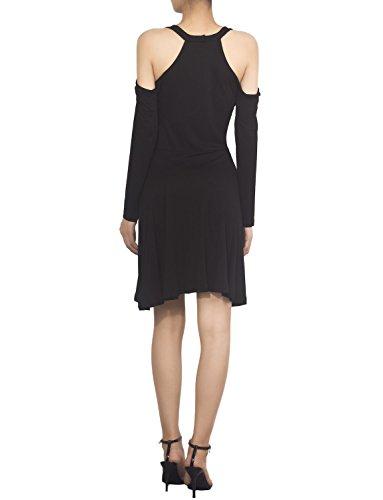 iB-iP Damen Baumwolle Gemischt Von Schulter A-Linie Mini Ausschneiden Kleid Schwarz