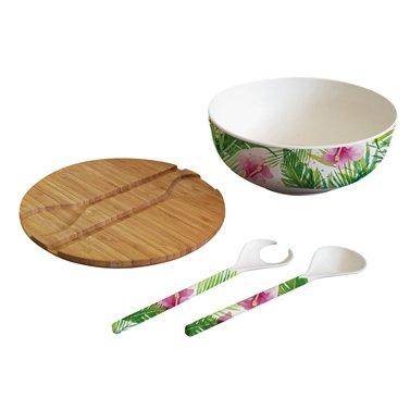 PPD Tropical Bamboo Salatschüssel mit Deckel und Besteck, Salat Schüssel, Servierschüssel, Speiseschüssel, Bambus, Mehrfarbig, Ø 25 cm, 603353