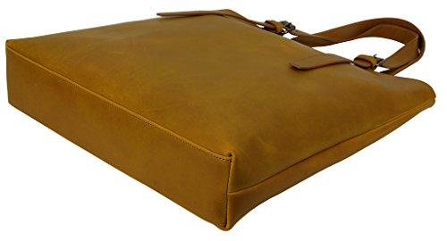 Yaluxe Homme Cabas Sac Porté Epaule Cuir de Buffle Vintage Style Simple Brun