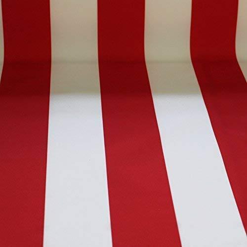 NOVELY® Sunrise Oxford 420D Markisenstoff | Weiß Rot | extrem reißfestes und dichtes Gewebe | UV-beständig | Polyester Stoff Outdoor Meterware Strandkorb Zeltstoff wasserdicht