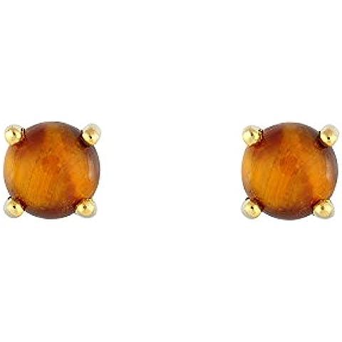 Ivy Gems–Oro Amarillo De 9ct ojo de tigre Pendientes de tuerca
