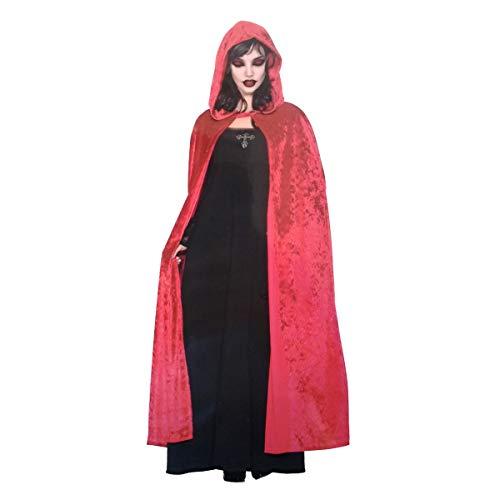LEMON TREE SL Capa Roja Adulto para Halloween con Capucha Disfraz Brujo o Bruja. Disfraz para Vampiro, tamaño 1,4m. Capa Unisex Adulto Talla Unica Color Rojo.