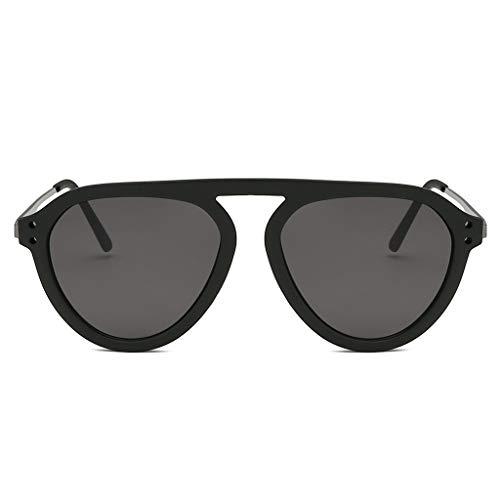 VENMO Mode Herren Retro kleine ovale Sonnenbrille für Damen Metallrahmen Shades Brillen Katzenauge Metall Rand Rahmen Damen Frau Mode Sonnebrille Gespiegelte Linse Women Sunglasses (H-D)
