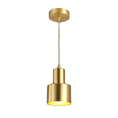Luces colgantes con pantalla de latón puro, lámpara de suspensión decorativa minimalista moderna nórdica - Mini accesorio de iluminación for techo E27 - Candelabros for la sala de estar Dormitorio