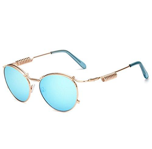 QQBL Männlichen und Weiblichen Allzweck-Metall-PC Ellipsenförmigen Rahmen UV400 Doppel Frühling Sonnenbrille,Blue