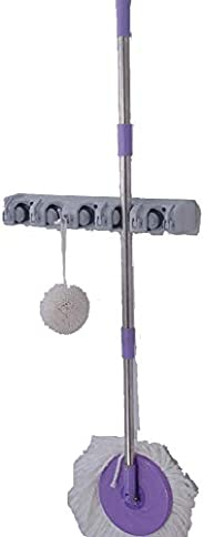 Mop And Broom Holder Wall Mounted Garden Storage Rack 5 Position With 6 Hooks Garage Holds Up To 11 Tools