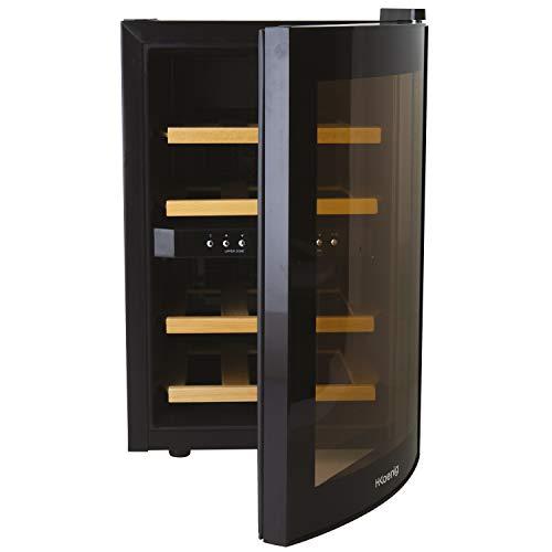 H.Koenig AGE12WV Weinkühlschrank / 12 Flaschen / 2 Temperaturzonen, Temperatur von 8°C bis 18°C / LED-Temperaturanzeige / Holzlagerböden
