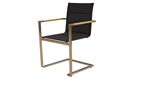OUTFLEXX Moderner Stapelstuhl in schwarz aus rostfreiem Edelstahl, Textilbespannung, Armlehnen aus hochwertigem Teakholz, Circa 55 x 57 x 89 cm, Gartenstuhl, gepolstert, stapelbar, wetterfest, - Edelstahl-stapelstühle