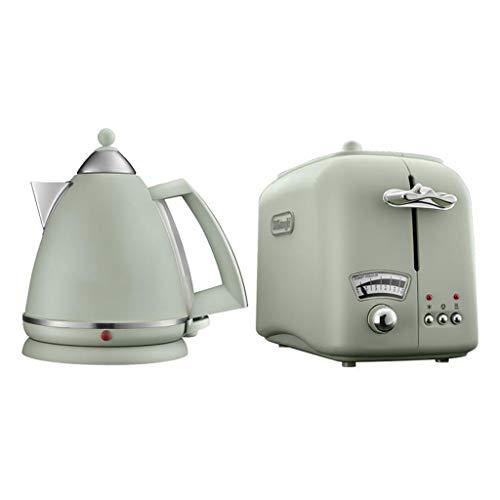 FYJK Hervidor de Vidrio iluminador, 1,7 litros, 3000 vatios y tostadora de Impresiones,Verde,Kettle+Toaster