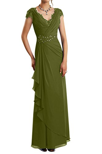 Gorgeous Bride Modern Lang V-Ausschnitt Etui Chiffon Abendkleid Brautmutterkleid Ballkleid Olive