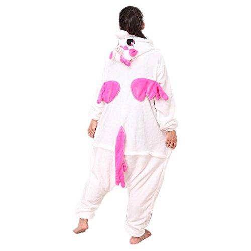 Misslight Unicorn Pyjamas Costumes d'animaux Cosplay Pyjamas Combinaison Vêtements de nuit Combinaison pour Enfant Adulte Unisexe Pink with Wing