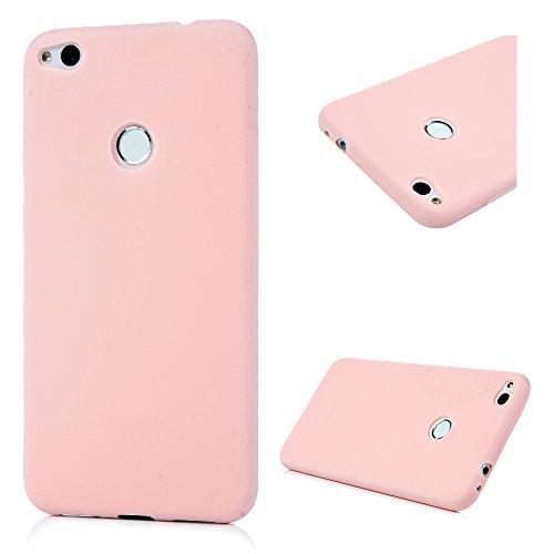 MAXFE.CO TPU Silikon Hülle für Huawei P8 Lite (2017) Handyhülle Schale Etui Protective Case Cover Rück mit Ultra slim Skin Einfarbige Design Skin Farbe Fleisch - Ruck Fleisch