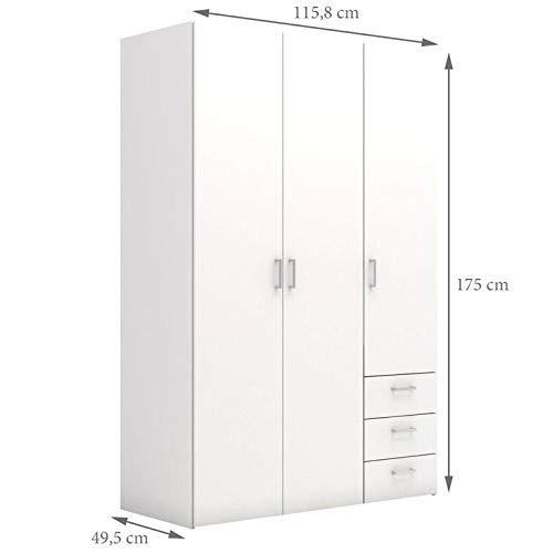 Evergreen-house armadio 3 ante e 3 cassetti, bianco, legno, scaffali interni, porta abiti, 1