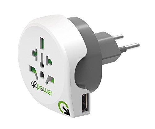 Ch Universal-single (q2power Universal Weltreiseadapter Reisestecker Netzstecker mit 2.1A USB Buchse - World nach CH - weiß/grau)