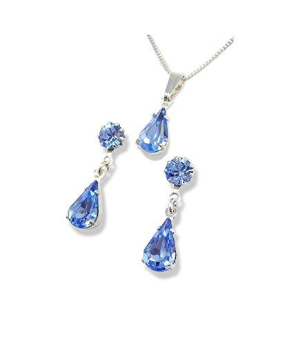 Wedding Jewellery - Diamante Jewellery - Light Sapphire Teardrop Pendant Set - Swarovski Jewellery - Blue Jewellery Set