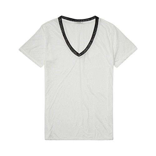 Scotch & Soda Maison Damen T-Shirts Burn Out Tee with Deep V-Neck, Weiß (Denim White 01), 40 (Manufacturer Size:3) -