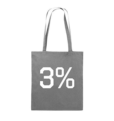 Buste Comiche - 3% - Logo - Borsa In Juta - Manico Lungo - 38x42cm - Colore: Nero / Rosa Grigio Scuro / Bianco