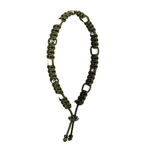 Ganzoo Zecken-Halsband EM Keramik Paracord, Schutz vor Zecken und Ungeziefer Halsband für Hunde mit Zier-Perlen Größe XL 43cm - 55cm ArmyGreen