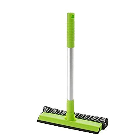 Japace® Multi-function Shower Squeegee / Duplex Glass Brush / Window Wiper with Thick Aluminum Handle for Bathroom Mirror Window Glass Cleaning(Green)