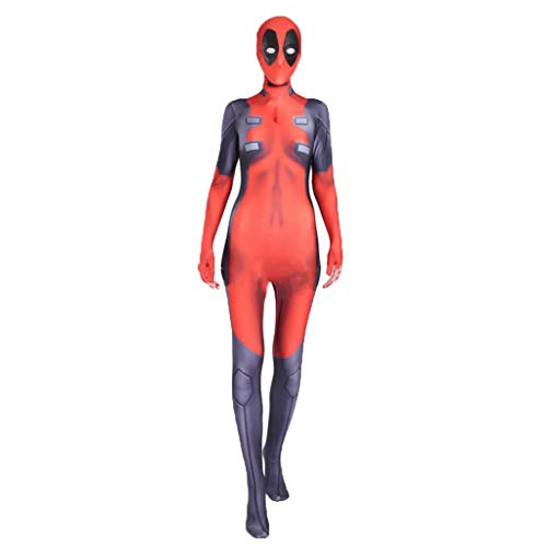 2 Kostüm weiblicher Tod Kellner Anime Kostüm Deadpool Film Halloween Kostüm Cosplay,Red-L(160-170) ()