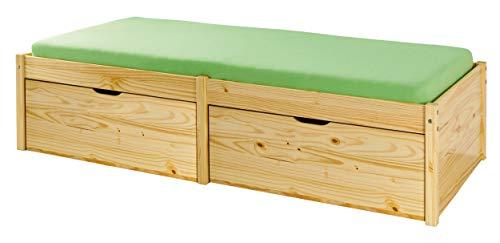 Holzbett Massivholzbett 90 x 200cm Seniorenbett Stauraumbett extra hoch Jugendbett Funktionsbett Bett Echtholz Tagesbett Höhe 48cm Rückenschonend massiv inkl.