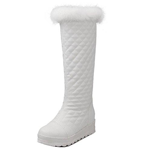 COOLCEPT Women Damen Plateau Stiefel Mid Heels Mit Kunstfell Fur Boots Weiß