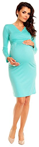 Zeta Ville Damen Umstands-Kleid Umstandsmoden-Shirtkleid Lange Ärmel 285c Minze