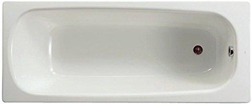 Baignoire CONTESA 160x70cm, en acier émaillé (épaisseur 1,5mm), bord plat, percée 1 trou D35mm, avec pieds métal à visse