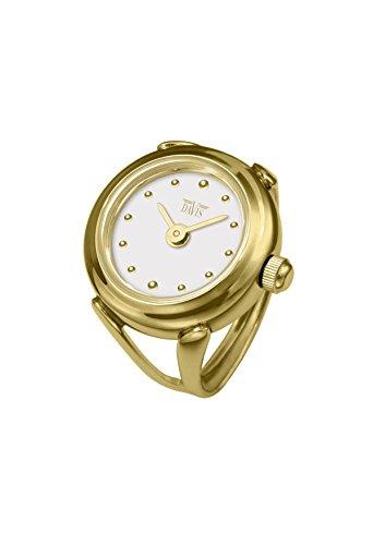 Davis 4180 - Damen Ringuhr Gold Ziffernblatt Weiß mit Index SaphirGlas Verstellbar
