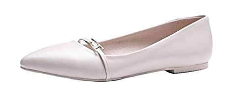Verocara Women's Classic Pointed Toe Tie Ballet Slip On Flat Shoes White Leather 2.5 UK