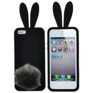Coque+support silicone lapin Noir bonbon , pour Iphone 5 5G