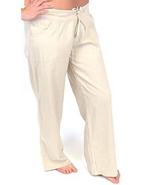 Tom Franks Mujer Mezcla De Linos Pantalones De Largo Completo