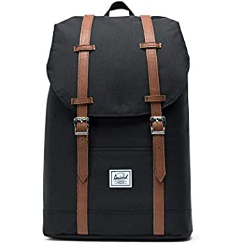 df9da954dc Herschel Supply Co. Retreat Mid-Volume Backpack, Black/Tan Synthetic Leather