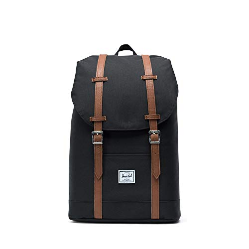 fc499a794 Herschel Supply Co. - Mochila Mediana, Black/Tan Synthetic Leather (Negro)
