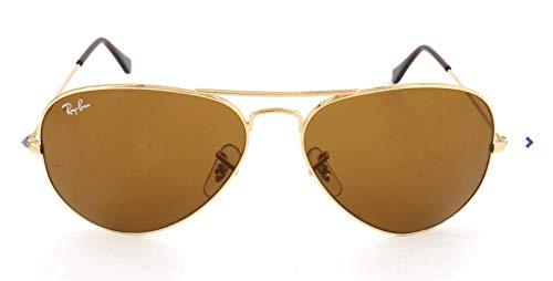 Ray Ban Unisex Sonnenbrille Aviator, Gr. Large (Herstellergröße: 58), Gold  (gold 001/33, Gläser: kristall braun)