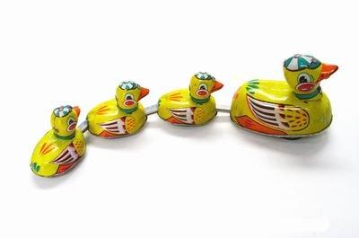 Blechspielzeug zum Aufziehen tin toys wind up-Mutter Ente und Entlein Spielzeug Bahn gelb(Einfuhr aus Hong Kong )