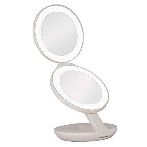 Schminkspiegel für Reisen, LED-beleuchteter Vergrößerungsspiegel, Vergrößerungen1X / 5X Doppelseitige, kompakte, faltbare Spiegel, tragbar für E-Z-Verwendung, Pocket Vanity/Kosmetikspiegel (weiß) -