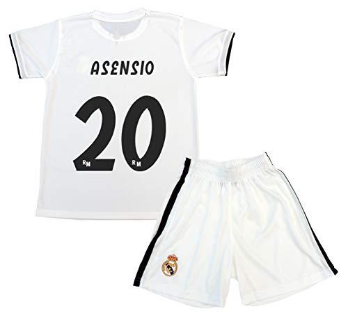 f950d1d547468 Real Madrid Kit Camiseta y Pantalón Primera Equipación Infantil Marcos  Asensio Producto Oficial Licenciado Temporada 2018